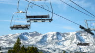 ski lift and snowy mountain. video