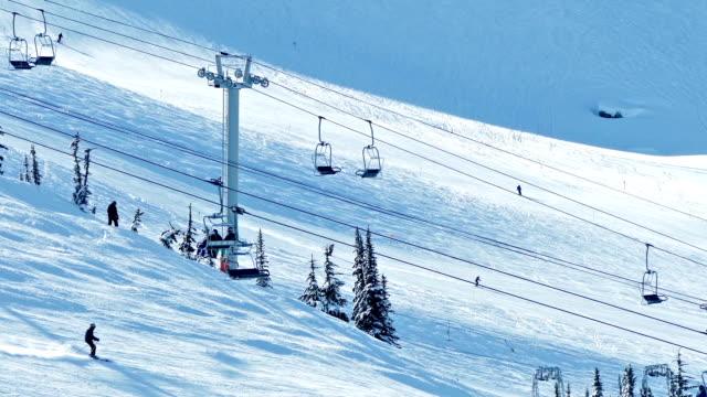 Ski Lift On Sunny Mountainside video