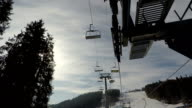 Ski lift on the background of the sky. video