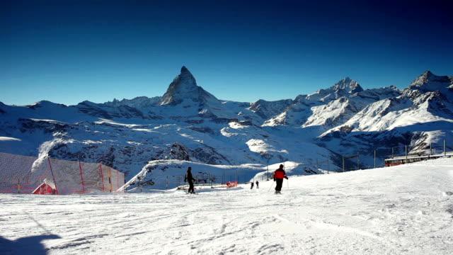 ski piste under Matterhorn video