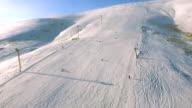 Ski resort  and running ski lifts. video