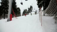 Skiers and snowboarders skiing downhill video