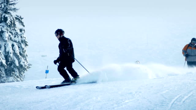 Skiers On Fresh Powder Slope video