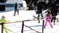 Skiers on Ski slope video