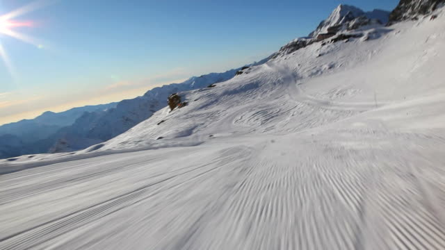 Skiing downhill on a ski slope - HD1080p video