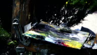 Skilled artist mixes the brush on palette of oil video