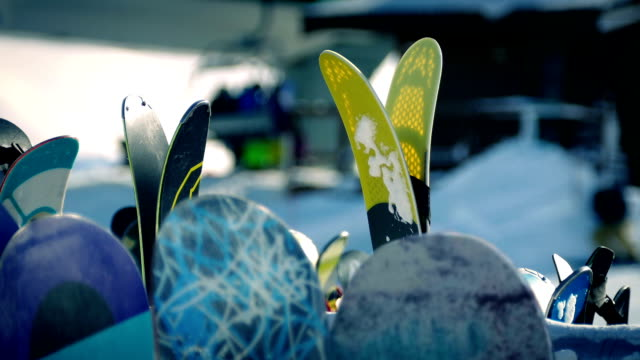 Skis And Boards At Resort video