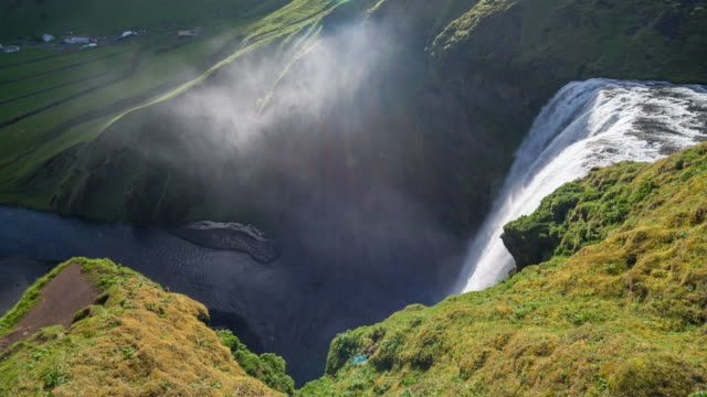 Skogafoss waterfall in Iceland, viewed from the tourist footpath video
