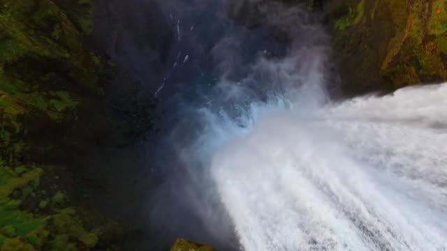 AERIAL Skogafoss waterfall video