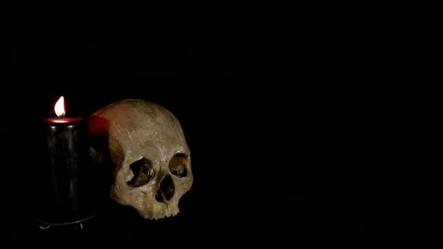 Skull and candle on the black background video