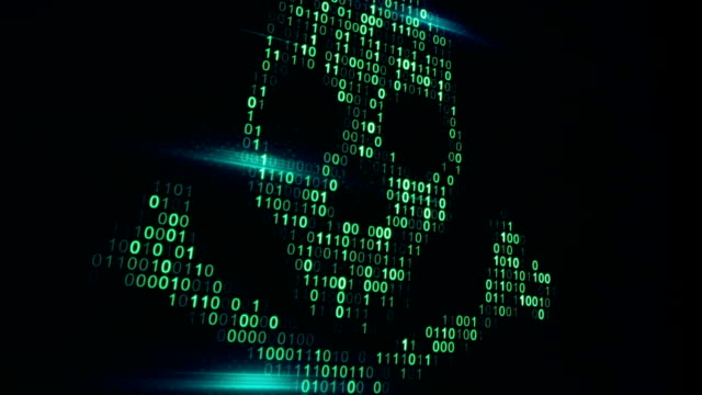 Skull shape of binary code on computer screen loop animation video