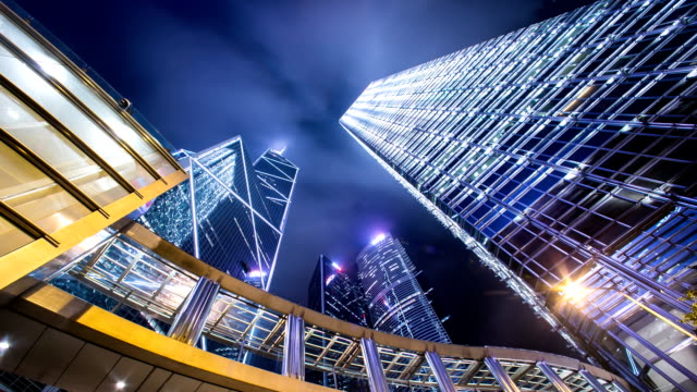 Sky and illuminated skyscrapers in hong kong.Time lapse. video