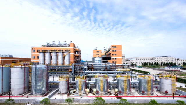 sky and panoramic view of  modern chemical factory,time lapse. video