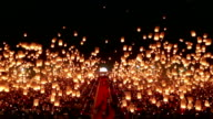 sky lantern in loy krathong festival in thailand (Floating lantern) video