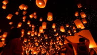 Sky Lantern Loi Krathong Traditional Festival. video