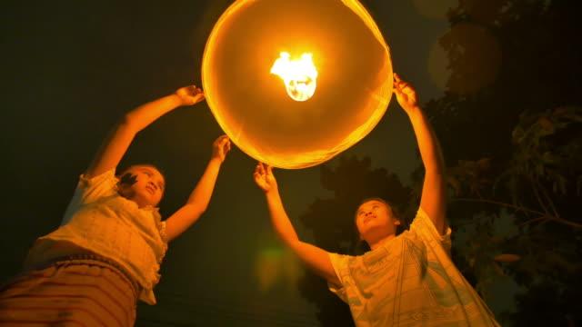 Sky Lantern Loi Krathong Traditional Festival. video
