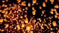 Sky Lanterns During Yee Peng Festival in Chiang Mai Thailand video