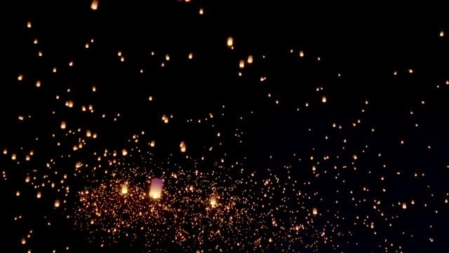 Sky Lanterns Flies Into The Night Sky video