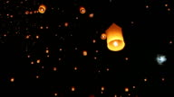 Sky Lanterns for Yee Peng Festival in Chiang Mai Thailand video
