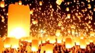 Sky lanterns in Yee-Peng Festival. video