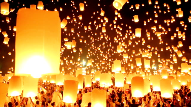 Sky lanterns in Yee-Peng Festival. video