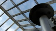 Sky through the glass roof of moden building video
