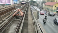 sky train and traffic in Asia video