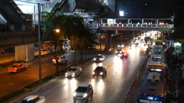 sky train and traffic in Bangkok video