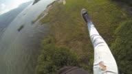 POV of skydiver descends and landing video