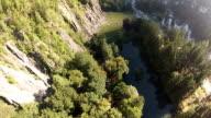 POV of skydiver descends to meadow video