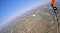 POV Skydiver flying over the countryside video