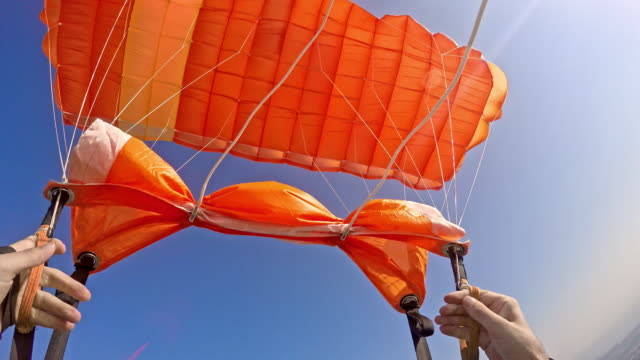 POV Skydiver handling the parachute video