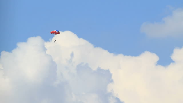 Skydiving in blue sky with clouds. video