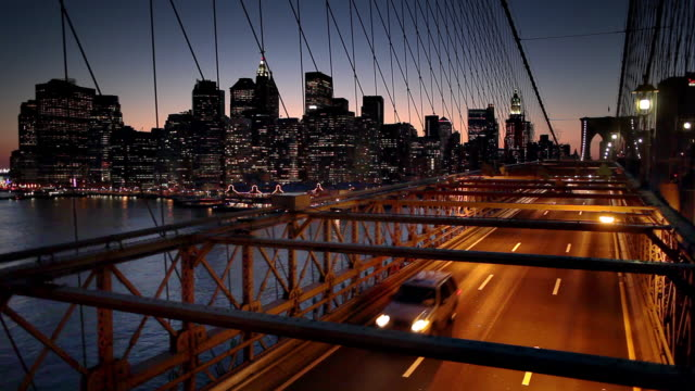 NYC skyline and Brooklyn bridge at dusk video