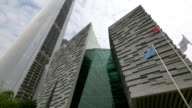 Skyline and modern office buildings of Guangzhou at riverbank video