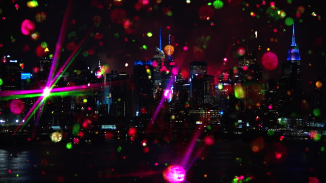 Skyline Cityscape New York City with colored glitter and fireworks video