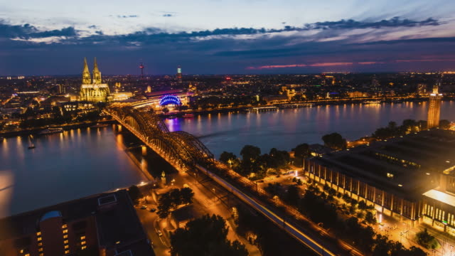 Skyline Cologne at sunset video