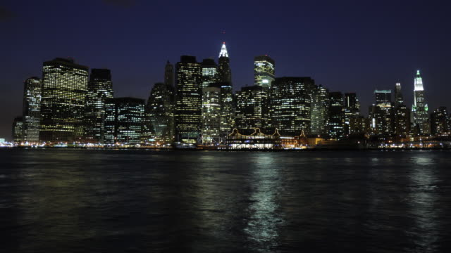 NYC Skyline from Brooklyn - Evening to Night video