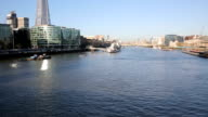 Skyline London with the sahrd and river thames video