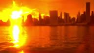 Skyline New York City Abstract orange foreground Cityscape Manhattan video