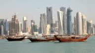Skyline of Doha downtown. Qatar video