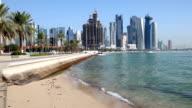 Skyline of Doha downtown video