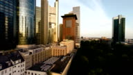 skyline of frankfurt am main. banking business district video
