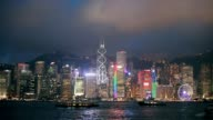 Skyline of Hong Kong at night. video