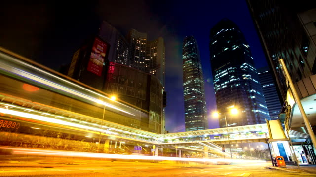 skyline, office buildings and traffic of modern city,Hong kong.timelapse. video