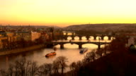 Skyline Prague with bridges at sunset video