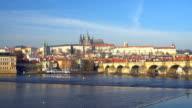 Skyline Prague with Charles Bridge, Time Lapse video
