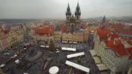 Skyline Prague with Christmas Market, Time Lapse video