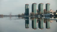 Skyline skyscrapers reflected in the water video