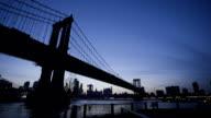 NYC Skyline sunset establishing shot with world trade center and brooklyn bridge video
